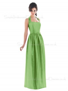 Draped/Ruffles/Sash Green Sleeveless Natural Floor-length Bridesmaid Dress