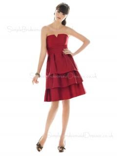 Burgundy Strapless Zipper Sleeveless Knee-length Bridesmaid Dress
