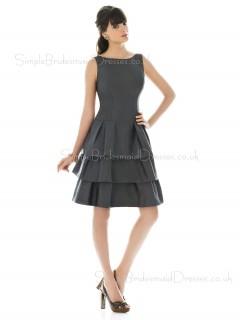 A-line Natural Draped/Ruffles/Tiered Satin Silver Bridesmaid Dress