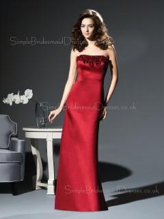 Sleeveless Sheath Floor-length Flowers Satin Bridesmaid Dress