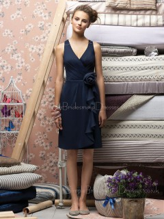 V-neck Dark-Navy Zipper Flowers/Ruffles Knee-length Bridesmaid Dress