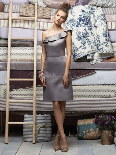 Satin Sleeveless Zipper A-line One-Shoulder Bridesmaid Dress