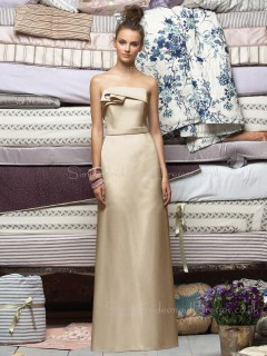 Ruffles Zipper Floor-length Champagne Sleeveless Bridesmaid Dress