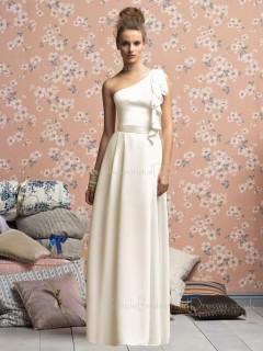 Natural Floor-length Zipper White One-Shoulder Bridesmaid Dress