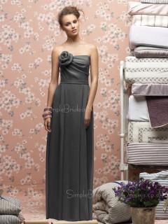 A-line Strapless Draped/Flowers/Ruffles Sleeveless Zipper Bridesmaid Dress