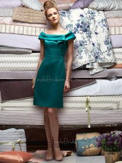 Sleeveless Zipper Satin Bateau A-line Bridesmaid Dress