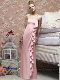 Pink Floor-length Ruffles Sheath Strapless Bridesmaid Dress