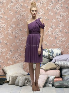 One-Shoulder Sleeveless Knee-length Draped/Ruffles A-line Bridesmaid Dress