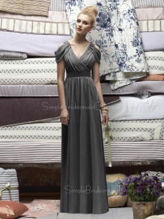 Silver A-line Chiffon Natural Sleeveless Bridesmaid Dress