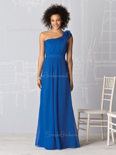 Zipper Royal-Blue Draped/Ruffles Chiffon A-line Bridesmaid Dress