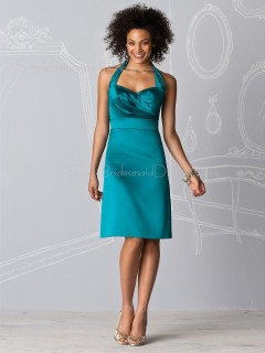 Backless Empire Ruffles Halter Elastic-Satin Bridesmaid Dress