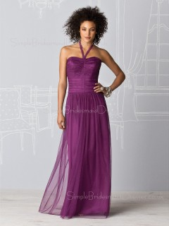 Dropped Chiffon Draped/Ruffles Halter Zipper Bridesmaid Dress