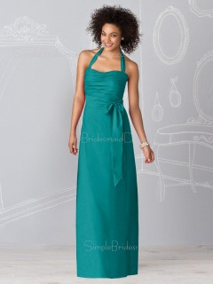 Sheath Sleeveless Blue Halter Zipper Bridesmaid Dress
