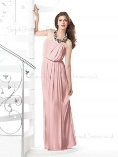 Pink A-line Floor-length Sleeveless Draped/Ruffles Bridesmaid Dress