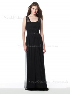 Floor-length Straps Black Zipper Sheath Bridesmaid Dress