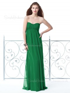 Empire Draped/Ruffles Green Sleeveless Strapless Bridesmaid Dress
