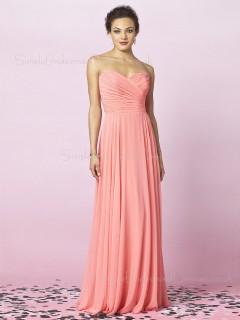 Draped/Ruffles Pink Empire Zipper Chiffon Bridesmaid Dress