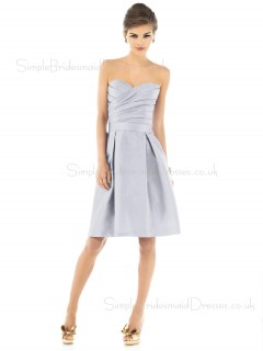 Zipper Natural A-line Silver Knee-length Bridesmaid Dress
