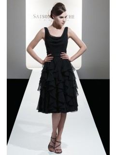 Straps Sleeveless Black Chiffon Draped/Ruffles Bridesmaid Dress