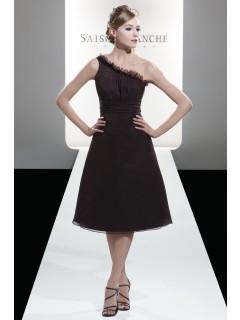 A-line Zipper Chocolate Ruffles One-Shoulder Bridesmaid Dress