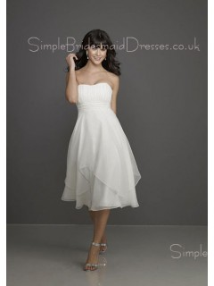 Draped/Ruffles Backless Strapless Empire Ivory Bridesmaid Dress