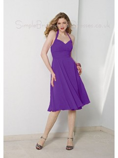 Chiffon Sleeveless Lilac Empire Halter Bridesmaid Dress