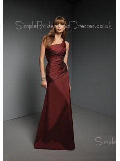 One-Shoulder Floor-length Natural Zipper A-line Bridesmaid Dress