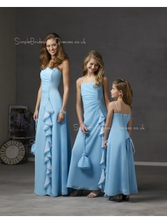 Light-Sky-Blue Floor-length Spaghetti-Straps Lace-up Chiffon Bridesmaid Dress