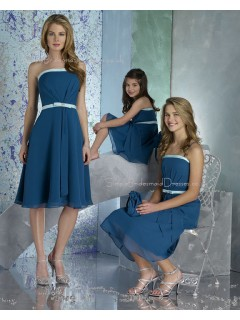 Draped/Ruffles/Sash Natural Blue Zipper Chiffon Bridesmaid Dress