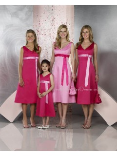 A-line Sleeveless Sash V-neck Satin Bridesmaid Dress