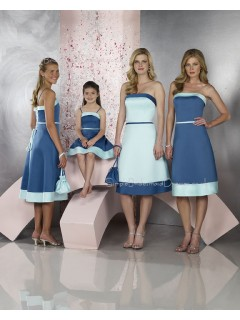 Natural Blue Knee-length Strapless A-line Bridesmaid Dress