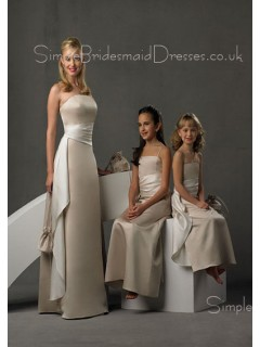 Strapless Zipper Sheath Sleeveless Floor-length Bridesmaid Dress