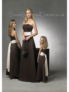 Strapless Zipper Sleeveless Satin A-line Bridesmaid Dress