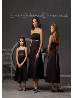 Chocolate A-line Sash Strapless Natural Bridesmaid Dress