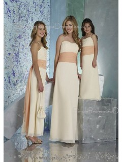 Ivory Sash Natural Sleeveless Floor-length Bridesmaid Dress