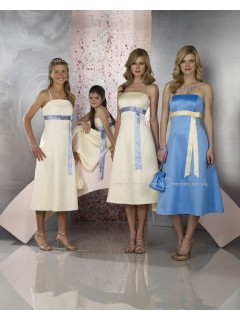 Sleeveless Zipper Strapless Satin Ivory Bridesmaid Dress