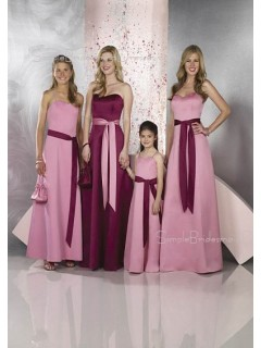 Pink Sweetheart Natural Floor-length Sleeveless Bridesmaid Dress