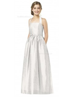 White Halter Satin A-line Floor-length Junior Bridesmaid Dresses