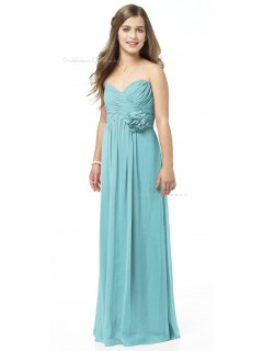 Sweetheart Floor-length Strapless Chiffon Blue Junior Bridesmaid Dresses