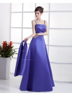 Sleeveless Spaghetti-Straps Zipper Satin Floor-length A-line Natural Regency Beading Bridesmaid Dress