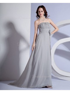 A-line Ruffles/Flowers Natural Silver Strapless Sleeveless Chiffon Zipper Floor-length Bridesmaid Dress