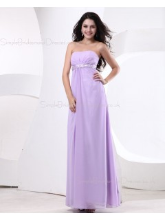 Zipper Ruffles/Beading Strapless Lilac Natural A-line Chiffon Floor-length Sleeveless Bridesmaid Dress