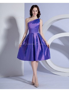 One-Shoulder Knee-length Natural Ruffles Sleeveless Lilac Zipper A-line Taffeta Bridesmaid Dress