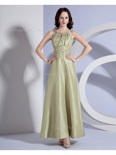 Zipper Natural A-line Ankle-length Sleeveless Sage Ruffles Taffeta Bateau Bridesmaid Dress