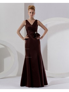 Chocolate Sleeveless Floor-length Ruffles/Bow/Beading V-neck Mermaid Natural Zipper Taffeta Bridesmaid Dress
