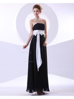 Strapless Floor-length Black Empire Ruffles/Draped/Sash/Bow A-line Sleeveless Chiffon Zipper Bridesmaid Dress