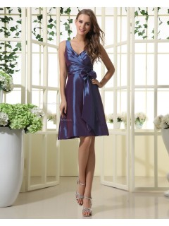 V-neck Zipper Natural Short-length Sleeveless Blue Ruffles/Bow/Sash Taffeta A-line Bridesmaid Dress