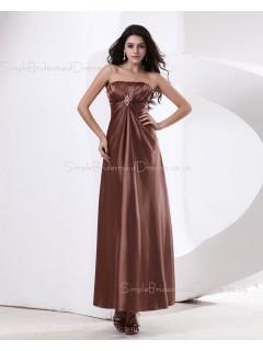 A-line Zipper Ruffles/Beading Sleeveless Elastic-Satin Natural Brown Floor-length Strapless Bridesmaid Dress