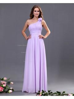 Lilac A-line Natural Sleeveless Zipper Ruffles/Draped/Flowers Floor-length Chiffon One-Shoulder Bridesmaid Dress