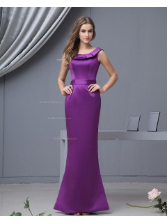Sleeveless Natural Mermaid Satin Ruffles Floor-length Zipper Bateau Regency Bridesmaid Dress